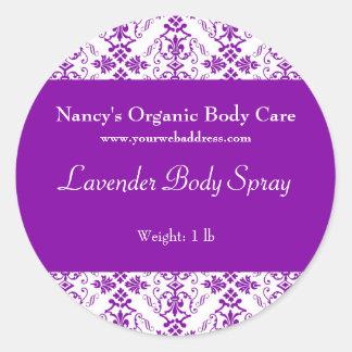 Purple Damask bath, soap, and cosmetics label Classic Round Sticker
