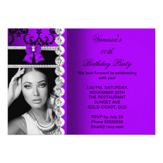 Purple Damask Black Jewel Bow Birthday Photo Announcement