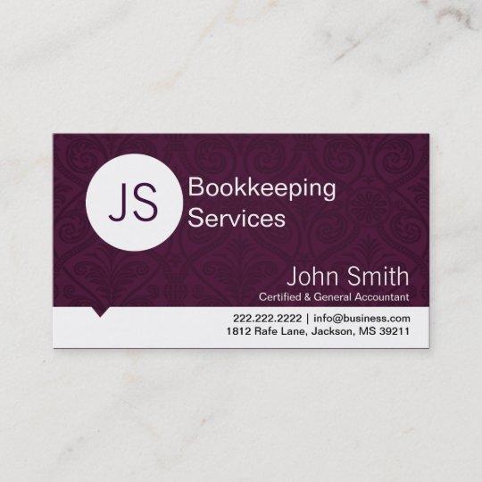 Purple damask bookkeepingaccounting business card zazzle purple damask bookkeepingaccounting business card reheart Images