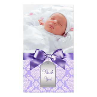 Purple Damask Bow Bomboniere Tags Double-Sided Standard Business Cards (Pack Of 100)