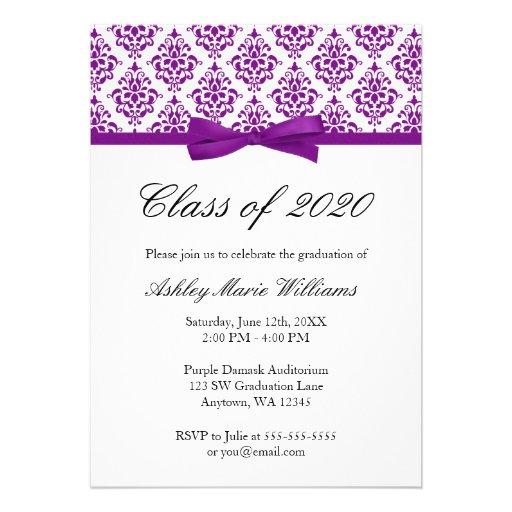 Purple Damask Bow Graduation Announcement