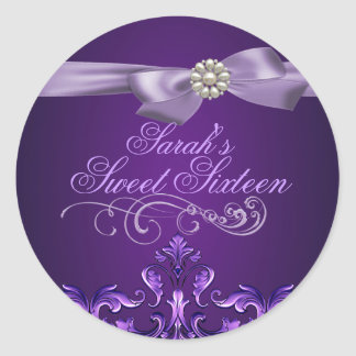 Purple Damask & Bow Sweet 16 Envelope Sticker/seal Classic Round Sticker