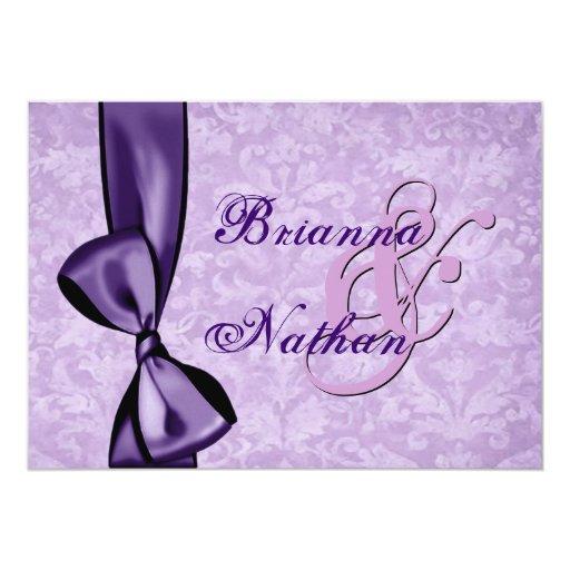 Purple Damask Bow Wedding Invitation