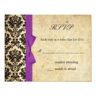 Purple Damask Bow Wedding RSVP Card