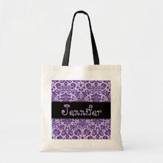 PURPLE Damask Bridesmaid Wedding  Bag