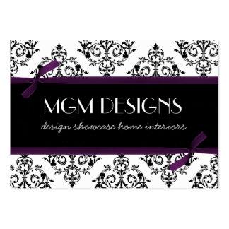purple damask Business Cards