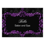 purple damask Business Thank You Cards