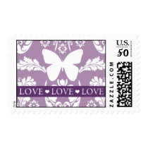 Purple Damask Butterfly Love Stamp