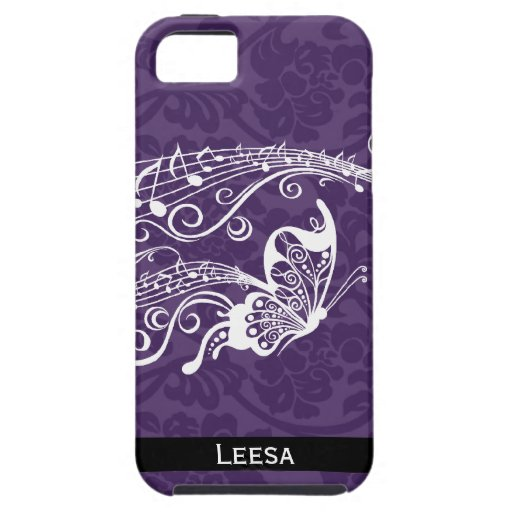 Purple Damask Butterfly Music Personalized iPhone 5 Cases