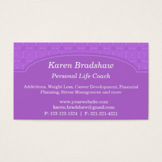 Purple Damask Career and Life Coach Business Cards