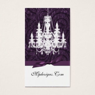 purple damask chandelier Chic Business Cards