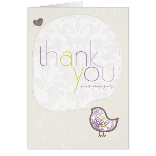 Purple Damask Chicks Birth Announcement Thank You