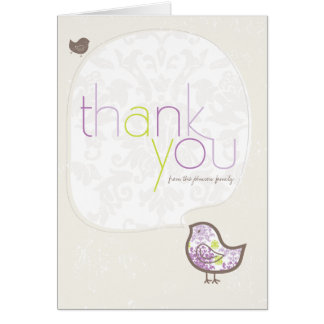 Purple Damask Chicks Birth Announcement Thank You Stationery Note Card