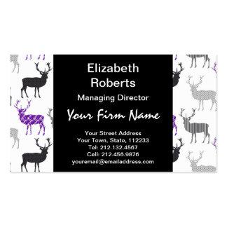 Purple Damask Christmas Deer Stag Pattern Business Card