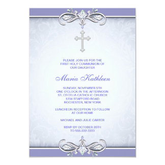 Purple Damask Cross First Communion Card