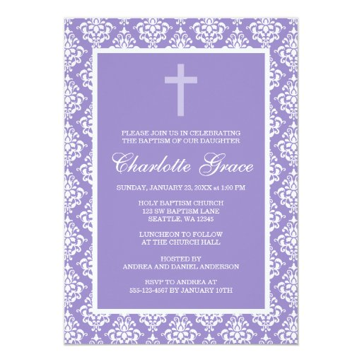 Purple Damask Cross Girl Baptism Christening 5x7 Paper Invitation Card