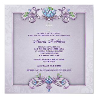 "Purple Damask Cross Girls First Communion 5.25"" Square Invitation Card"