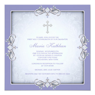 Purple Damask Cross Girls Purple First Communion Card