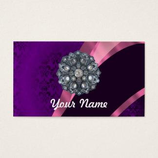 Purple damask & crystal business card