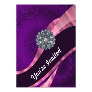 Purple damask & crystal card