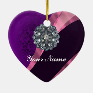 Purple damask & crystal ceramic ornament