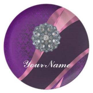 Purple damask & crystal dinner plate
