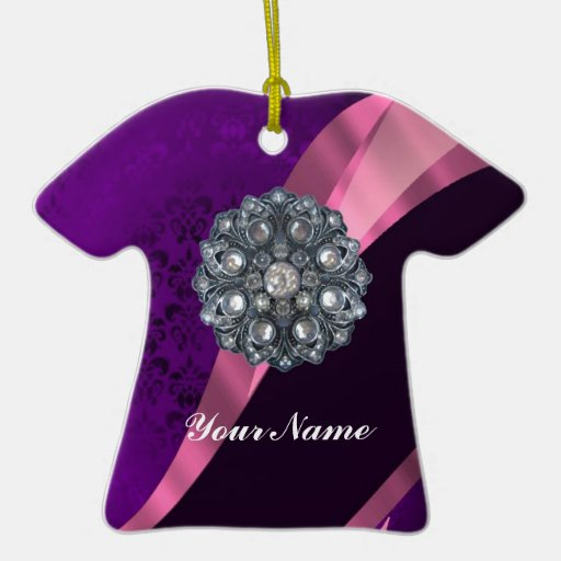 Purple damask & crystal Double-Sided T-Shirt ceramic christmas ornament