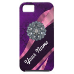 Purple damask & crystal iPhone 5 cover