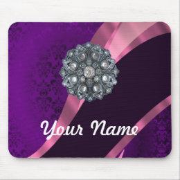 Purple damask & crystal mouse pad