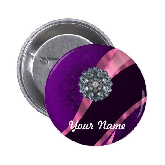 Purple damask & crystal pinback button