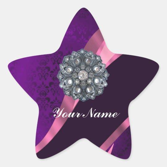 Purple damask & crystal star sticker