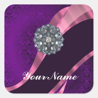 Purple damask & crystal square sticker