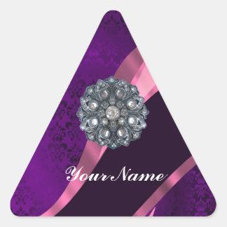 Purple damask & crystal triangle sticker