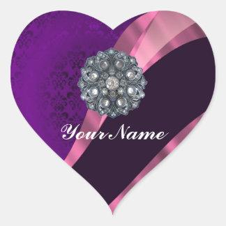 Purple damask & crystal heart sticker