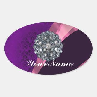 Purple damask & crystal oval sticker
