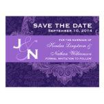 Purple Damask Curlicue Save The Date V009 Postcard