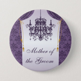 Purple Damask Curtain and Chandelier Bridal Party Pinback Button