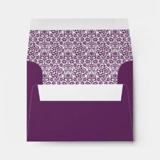 Purple Damask Custom Envelope with Address Envelopes