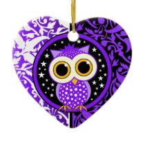purple damask cute owl ceramic ornament