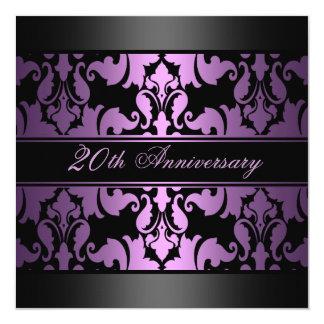 Purple Damask Design Wedding Anniversary Invite
