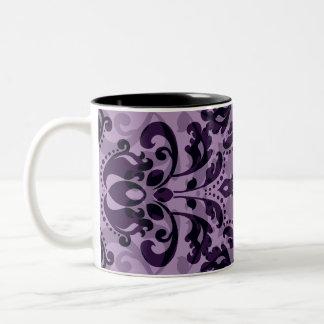 Purple damask desire Two-Tone coffee mug