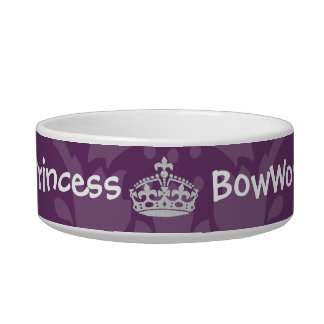 Purple Damask Diamond Princess Crown Dog Bowl