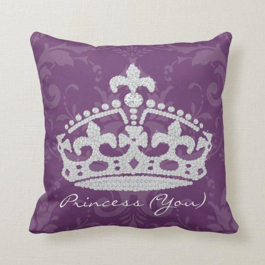 Purple Damask Diamond Princess Crown Pillow