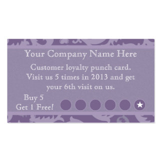 Purple Damask Discount Promotional Punch Card