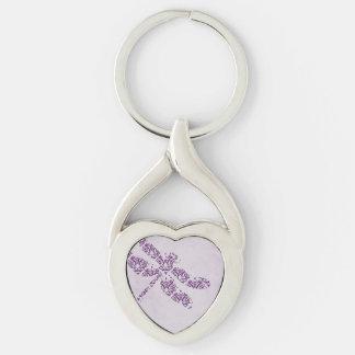 Purple Damask Dragonfly Wedding Keychains
