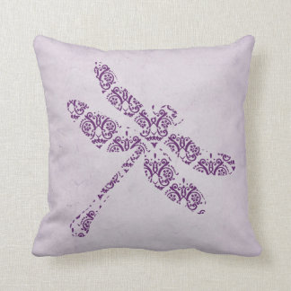 Purple Damask Dragonfly Wedding Throw Pillow