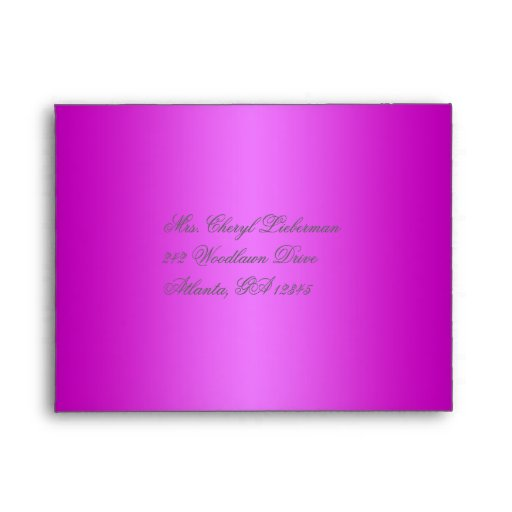 Purple Damask Envelope for Reply Card