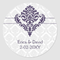 purple damask envelope seals