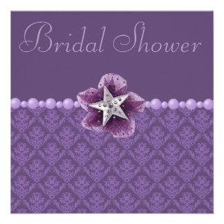 Purple Damask, Flower, Star & Pearls Bridal Shower Invitation