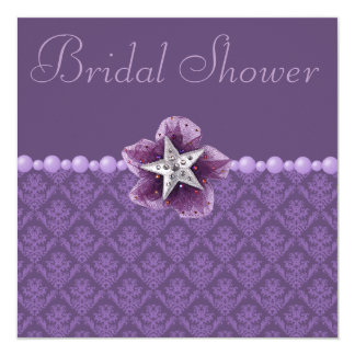 Purple Damask, Flower, Star & Pearls Bridal Shower 5.25x5.25 Square Paper Invitation Card